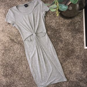 Very flattering front knot gray dress!